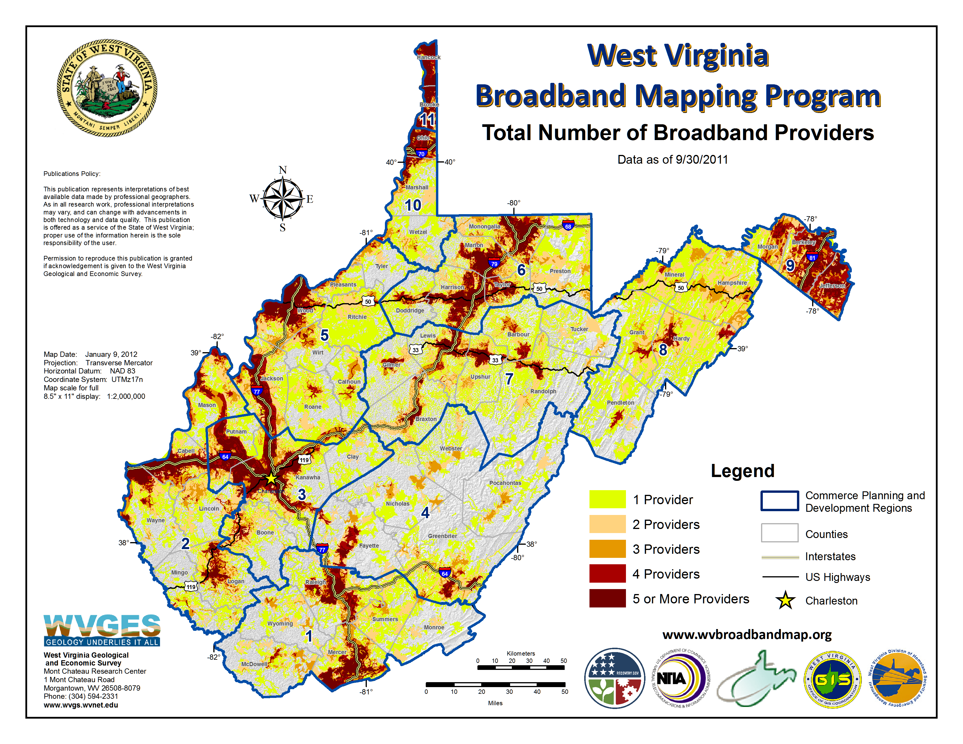 West Virginia Broadband Mapping Program Maps - Map of cable providers in the us