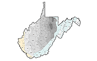 Image of the WV Marcellus thickness Polygons