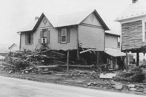 Houses destroyed by flood