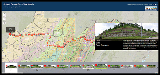 Image of the Geologic Transect Story Map application